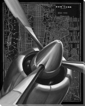 Vintage Plane I Wrapped Canvas Giclee Print Wall Art