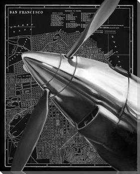Vintage Plane II Wrapped Canvas Giclee Print Wall Art