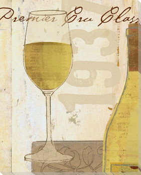 White Glass of Wine Wrapped Canvas Giclee Print Wall Art