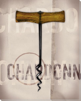 Chardonnay Corkscrew Wrapped Canvas Giclee Print Wall Art