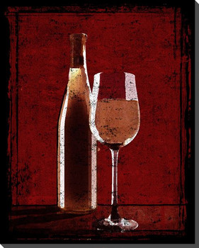 A Glass of Blush Wine Wrapped Canvas Giclee Print Wall Art