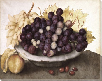 A Dish of Grapes and a Peach Wrapped Canvas Giclee Print Wall Art