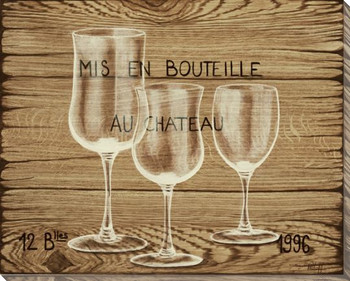 Mis en Bouteille Wine Glasses Wrapped Canvas Giclee Print Wall Art
