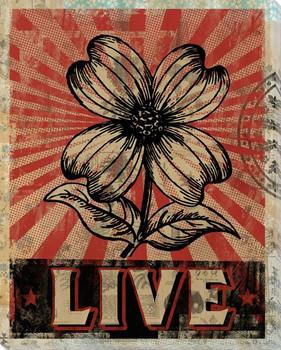 """""""Live"""" with Flower Wrapped Canvas Giclee Print Wall Art"""
