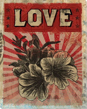 """""""Love"""" with Flower Wrapped Canvas Giclee Print Wall Art"""
