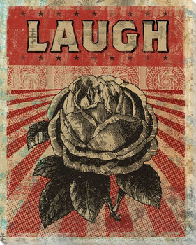"""""""Laugh"""" with Flower Wrapped Canvas Giclee Print Wall Art"""