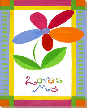 """""""Loves Me"""" with Flower Wrapped Canvas Giclee Print Wall Art"""