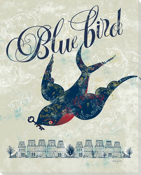 """""""Blue Bird"""" of Happiness Wrapped Canvas Giclee Print Wall Art"""