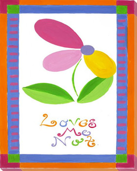 """Loves Me Not"" with Flower Wrapped Canvas Giclee Print Wall Art"