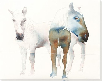 Silver One Two Horses Wrapped Canvas Giclee Print Wall Art