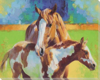 Morning Colors Horse and Her Filly Wrapped Canvas Giclee Print