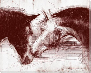 Sketched Horse Heads 2 Wrapped Canvas Giclee Art Print Wall Art