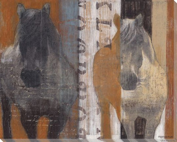 Day at the Races Two Horses Wrapped Canvas Giclee Print Wall Art