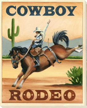 Cowboy Rodeo Wrapped Canvas Giclee Print Wall Art