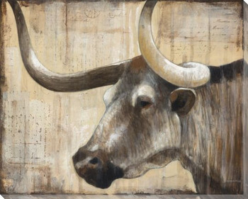 Long Horn IV Wrapped Canvas Giclee Print Wall Art