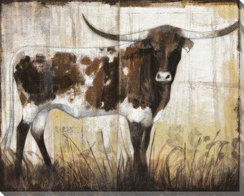 Long Horn Bull Wrapped Canvas Giclee Print Wall Art