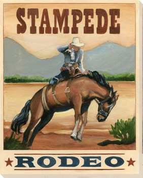 Stampede Rodeo Wrapped Canvas Giclee Print Wall Art
