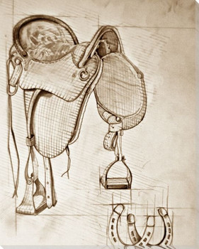 Saddle Sketch 2 Wrapped Canvas Giclee Print Wall Art