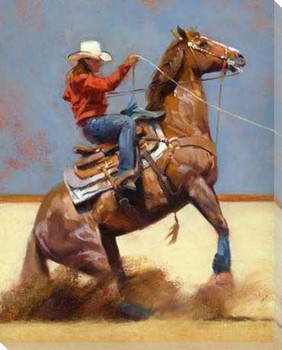 Breakaway Cowgirl Wrapped Canvas Giclee Print Wall Art