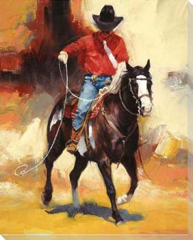 Rodeo Style Cowboy Wrapped Canvas Giclee Print Wall Art