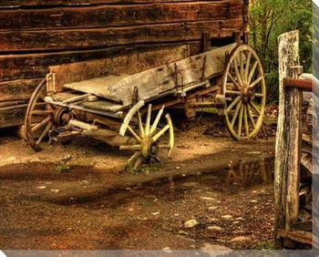 Broken Wheels Wagon Wrapped Canvas Giclee Print Wall Art