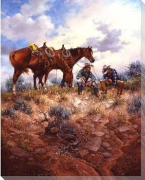 Sage Advice Cowboys and Horses Wrapped Canvas Giclee Print
