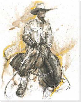 The Trail Boss Cowboy on Horse Wrapped Canvas Giclee Print