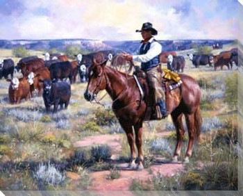 Watched Cowboy and Cows Wrapped Canvas Giclee Print Wall Art
