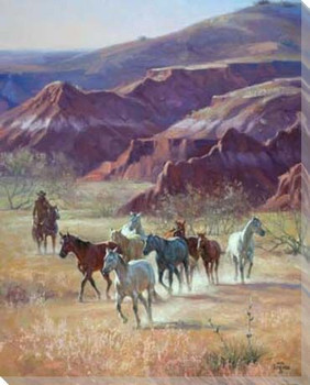 River Breaks Bunch Herding Horses Wrapped Canvas Giclee Print