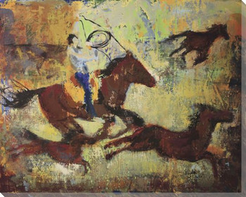 The Chase Cowboy on Horse Wrapped Canvas Giclee Print Wall Art