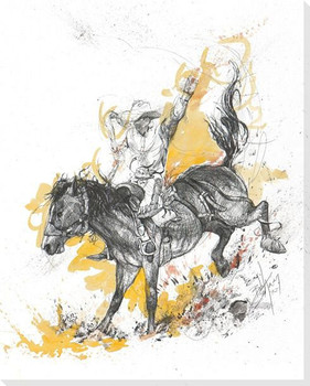 Through Blood & Fire Bucking Bronco Wrapped Canvas Giclee Print