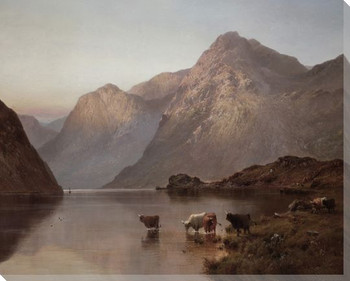 Loch Awe Cows by the Water Wrapped Canvas Giclee Print Wall Art