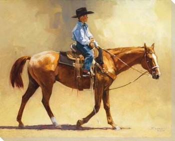 Dreams to Match Young Cowboy Wrapped Canvas Giclee Print Wall Art