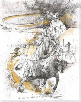 The Dust Storm Cowboy Roping Wrapped Canvas Giclee Print Wall Art