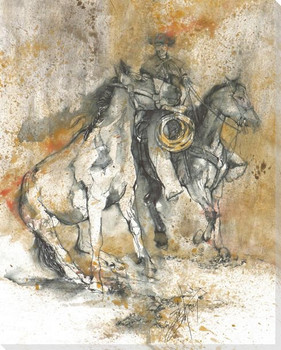 Heading for Rockies Cowboy with Horses Wrapped Canvas Giclee Art Print