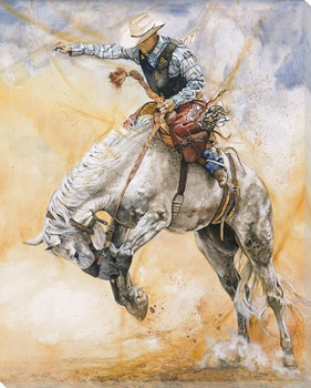 Love At First Jump Cowboy at the Rodeo Wrapped Canvas Giclee Art Print