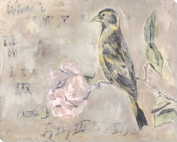 Bird with Peony Wrapped Canvas Giclee Print Wall Art