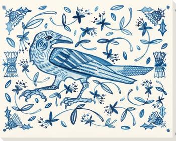 Crow Bird Walks Wrapped Canvas Giclee Print Wall Art