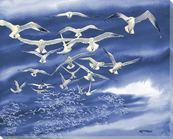 Flock of Birds 1 Wrapped Canvas Giclee Print Wall Art