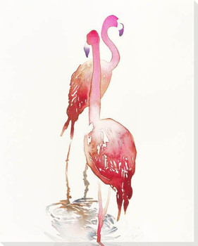 Flamingo Bird Pair Wrapped Canvas Giclee Print Wall Art