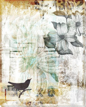 Songbird Duet Left Wrapped Canvas Giclee Print Wall Art