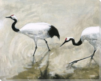 Wading Crane Birds Wrapped Canvas Giclee Print Wall Art
