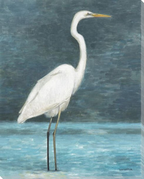 White Egret Bird I Wrapped Canvas Giclee Print Wall Art