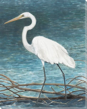 White Egret Bird II Wrapped Canvas Giclee Print Wall Art