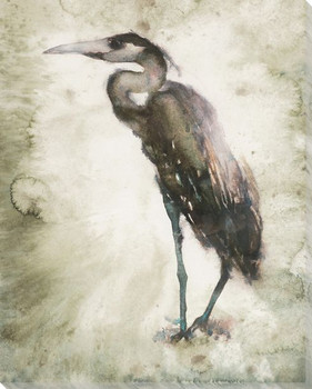 Standing Heron Bird Wrapped Canvas Giclee Print Wall Art