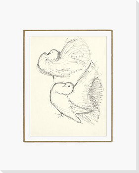 Sketch of Two Birds Wrapped Canvas Giclee Print Wall Art
