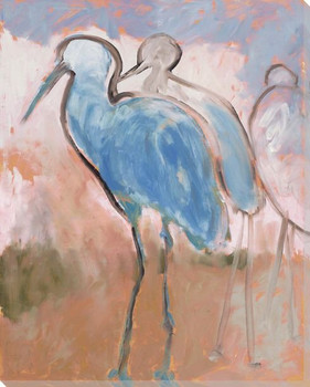 Two Blue Crane Birds Wrapped Canvas Giclee Print Wall Art
