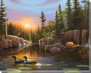 Evening Solitude Ducks Swimming Wrapped Canvas Giclee Print