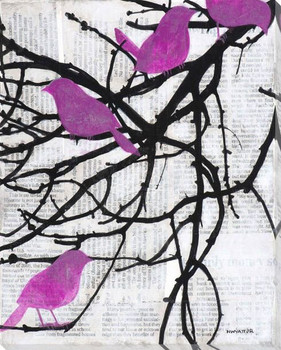 Vivid Visitors Birds I Wrapped Canvas Giclee Print Wall Art
