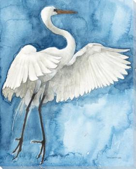 Jumping Egret Bird Wrapped Canvas Giclee Art Print Wall Art